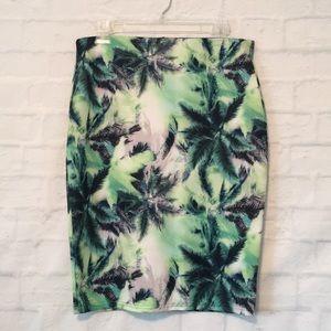 ASOS plum tree print stretch pencil skirt sz 10